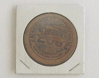 Bennington Vermont Bicentennial Wooden Nickel, 1961