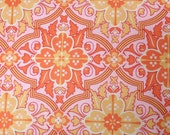 Pink and orange medallion modern quilt fabric off the bolt by the yard