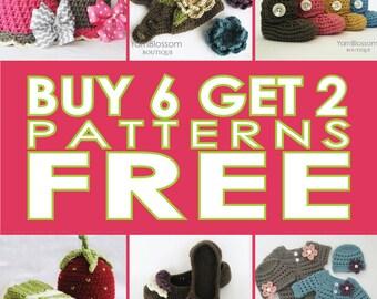 Crochet Pattern SALE: Buy 6 PATTERNS Get 2 FREE