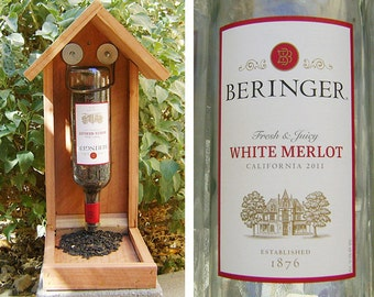 Bottle BIRD FEEDER, Recycled Wine Bottle, White Merlot. Upcycled, Hand Made (bird seed not included). Ready to Ship
