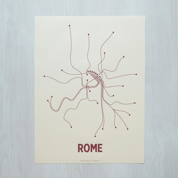 Rome Lineposter Screen Print - Newsprint/Maroon
