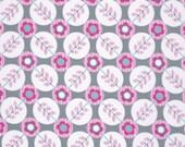 18 x 20 LAMINATED cotton fabric - Floradots gray La Dee Da (aka oil cloth vinyl slicker coated fabric) BPA free