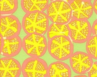 LAMINATED cotton fabric (similar to oilcloth) by the yard - St Clements Lime - by Mably - WIDE - BPA free - Fun wipeable tablecloth fabric