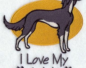 I Love My Saluki Embroidered Flour Sack Hand/Dish Towel