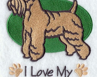 I Love My Wheaten Terrier Embroidered Flour Sack Hand/Dish Towel