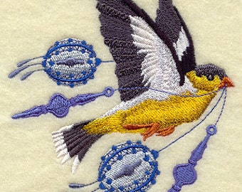 Christmas Goldfinch with Ornaments in Flight Embroidered Flour Sack Hand/Dish Towel
