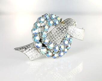 Love Knot Brooch pin, Coro Blue Rhinestone Brooch aurora borealis, Silver Ribbon Vintage jewelry