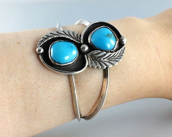 Navajo Cuff Bracelet Blue Turquoise Sterling Feather