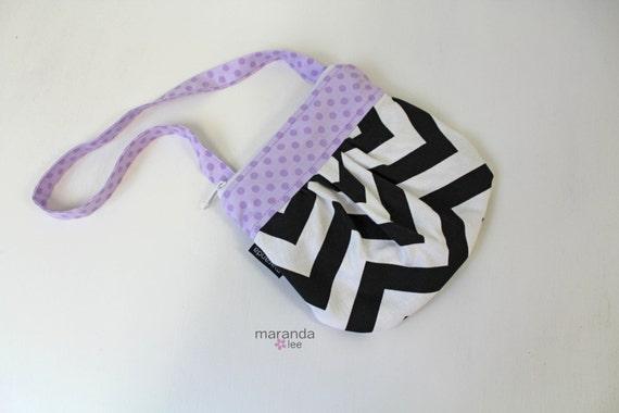 Ready to ship mini mama bag in black chevron and lavender dot