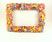 Jigsaw Puzzle Covered Free Standing or Wall Photo Frame 4x6 inch Photos Game Quirky Bright Colorful Orange Red Pink Blue Boys Girls Bedroom