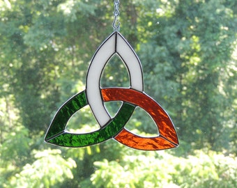 Ireland Flag Celtic Trinity Knot Stained Glass