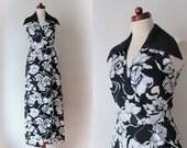 Vintage Maxi Dress - Black & White Floral Faux Wrap Dress - Poly Dress - Size S