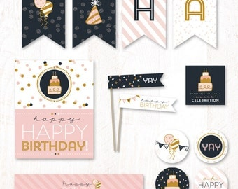 Confetti Birthday (Pink and Gold) - Instant Download PRINTABLE Party Essentials Kit