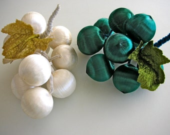 2 Satin Ornament Grape Clusters Set of 2 Green and White Grapes UNIQUE Home Decor Centerpiece from The Back Part of the Basement