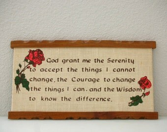 Serenity Prayer Plaque Wood Framed Burlap Canvas Spiritual Wisdom Red Roses Feminine Plaque from The Back Part of the Basement