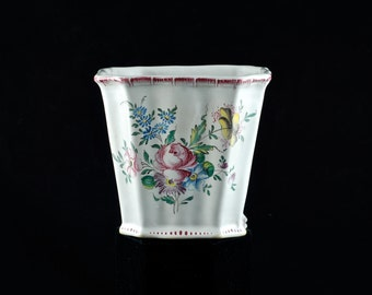 Vintage French Strasbourg or Marseille Faience Cachepot - Artist Signed