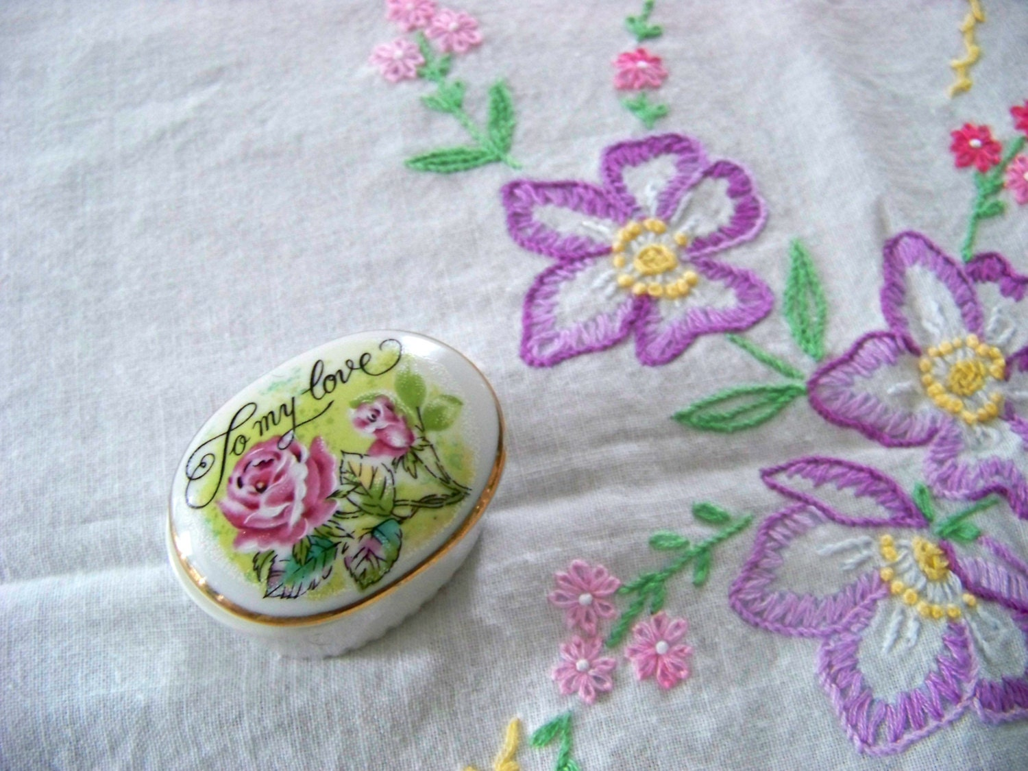 Embroidered tablecloth purple flowers square