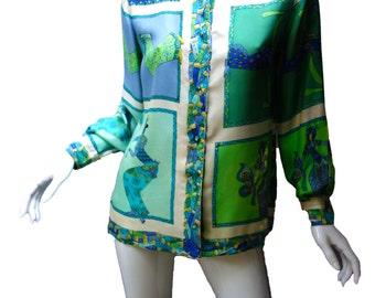 EMILIO PUCCI Vintage 60s Silk Blouse