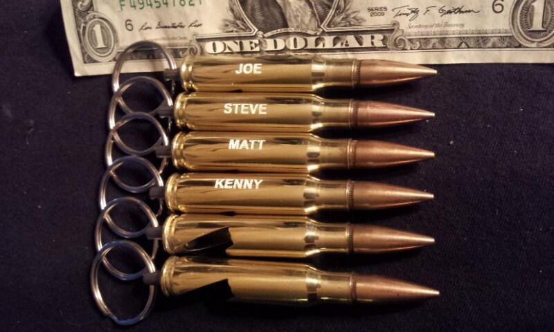 6 308 bullet bottle opener engraved keychains groomsmen gift. Black Bedroom Furniture Sets. Home Design Ideas