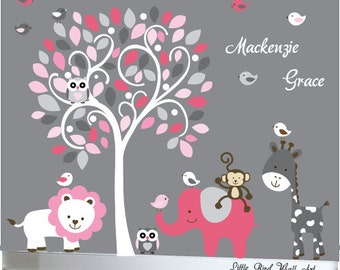 white, pink and grey childrens tree wall decal jungle decal design - 115