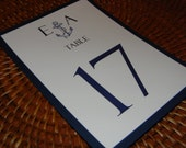 Nautical Table Numbers with navy blue backing reserved for tsuchy1682