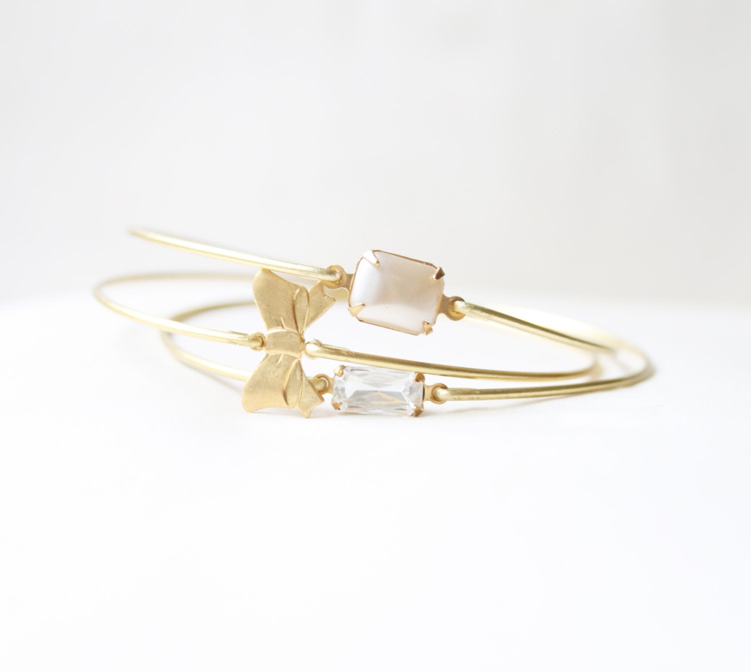 Brass Bow and Pearl Bangle Set, Bow Bracelet,  Ribbon Bangle, Charm Bracelet, Stackable Bangle, Bow Bracelet