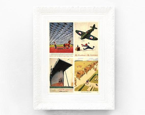 Guinness Print Original Advertisement Postcards Book Plate 7.5 x 10.5 inches Ireland Brewerania Advert Pint Illustration