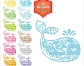Baby Whale Clip Art. For Invitation Card, Baby Shower Invites, Paper Cut Handmade Crafts Project, Personal and Small Commercial Use. BP 0807