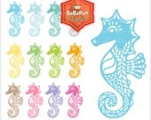 Seahorse Clip Art. Birthday Invitation Card. Paper Cut Craft. For Your Handmade Crafts Projects. Personal and Small Commercial Use. BP 0825