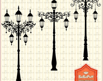 Instant Downloads, Vintage Street Lights Set 2, Clip Art For Wedding Invitations, Cards Making, Personal and Small Commercial Use. BP 0816