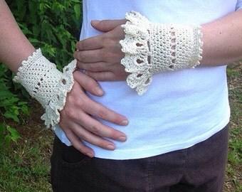 Crochet - Lace Wrist Cuffs - Cotton Lace - Cream