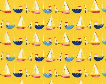 Hey Sailor - Yellow Boats from Timeless Treasures
