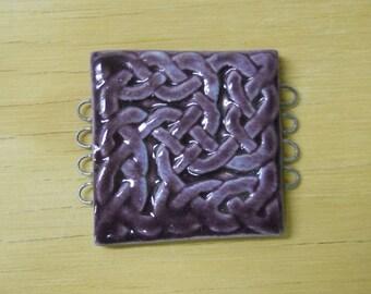 Celtic Knot Pottery Bracelet Bead, Focal Bead, Connector - Pansy Purple