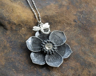 Flower Pendant with Dragonfly Charm Vintage Repurposed