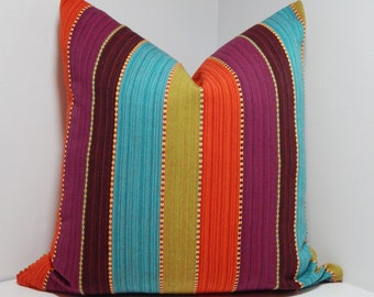 SALE Multi Color Stripe Pillow Cover Green Purple Blue Orange Stripe 12x18 Lumbar Pillow