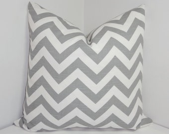 Pillow Cover Grey and White Zig Zag Chevron Decorative Pillow All Sizes