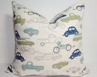 Navy Blue Light Blue Green Cars Trucks Boys Nursery Pillow Covers Decorative Throw Pillow All Sizes