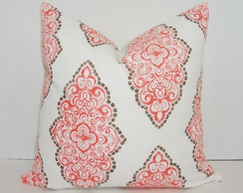 Coral Brown White Diamond Print Decorative Pillow Cover Throw Pillow Cover All Sizes