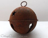 "Rusty Jingle Bell,  Extra Large 80 mm, 3"",  Darice Craft - Rusted Bell, Primitive Supply / Decor / Embellishment, Christmas Bell"