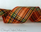 "Halloween Wired Ribbon Plaid, 2 1/2"" wide,  Orange, Black, Yellow, Green - THREE YARDS - Reliant ""Spooky Tartan"" Fall Wired Edge Ribbon"