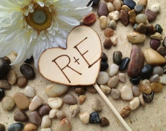 Cupcake Topper Centerpiece for Weddings Engagement Bridal Shower with Carved Initials on Wood Heart