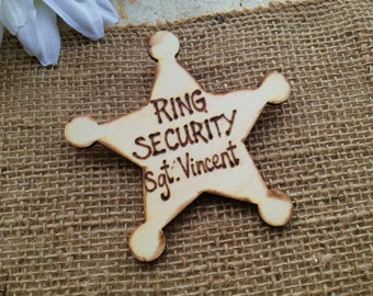 Ring Security Badge for Ring Bearer Personalized with HIS Name Photo Prop Rustic Wedding Sheriff Badge Police Junior Usher Groomsman
