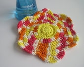 Crochet Flower Cotton Dish Cloth - Shades of Yellow, Hot Pink and Orange Dishcloth