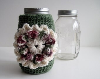 Mason Canning Jar Cozy - Sage Green with Flower Applique