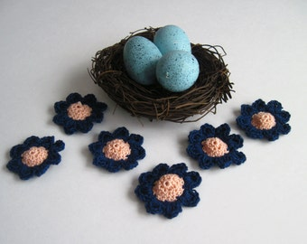 6 Thread Crochet Flowers - Cone Centers with Pedals - Peach and Navy Blue (Set of 6)