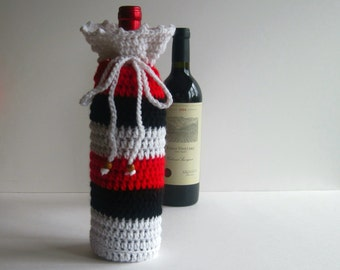 Wine Bottle Cover Crochet Gift Wrap - White, Black and Red with Wood Beads