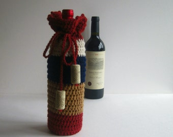 Wine Cozy - Crochet Wine Bottle Covers Sacks Gift Bags - Rust, Camel and Navy with Cork Tassels