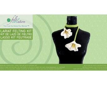 Flower Lariat Felting Kit, Wet Felting Kit, Learn to Felt, Christmas gift for Woman, Craft Kit for Girl, Craft Kit for Woman, Felt Flower