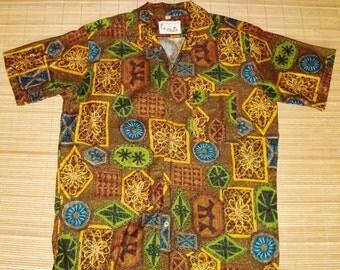 Men's Vintage 60s Barefoot in Paradise Mod Mod Tribal Batik Rockabilly Hawaiian Shirt - M - The Hana Shirt Co