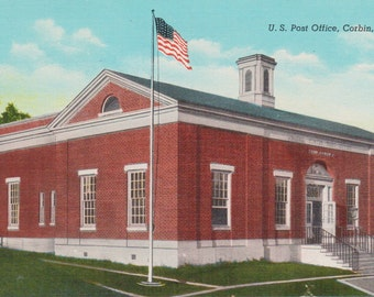 Corbin, Kentucky, Post Office - Linen Postcard - Unused (P)